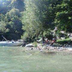 Strandje bij waterval Lago di Mezzola