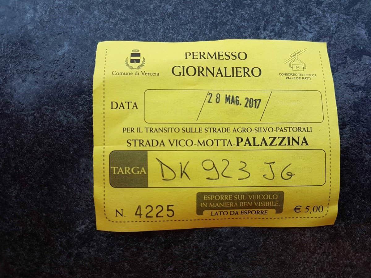 Ticket auto voor Tracciolino wandeling
