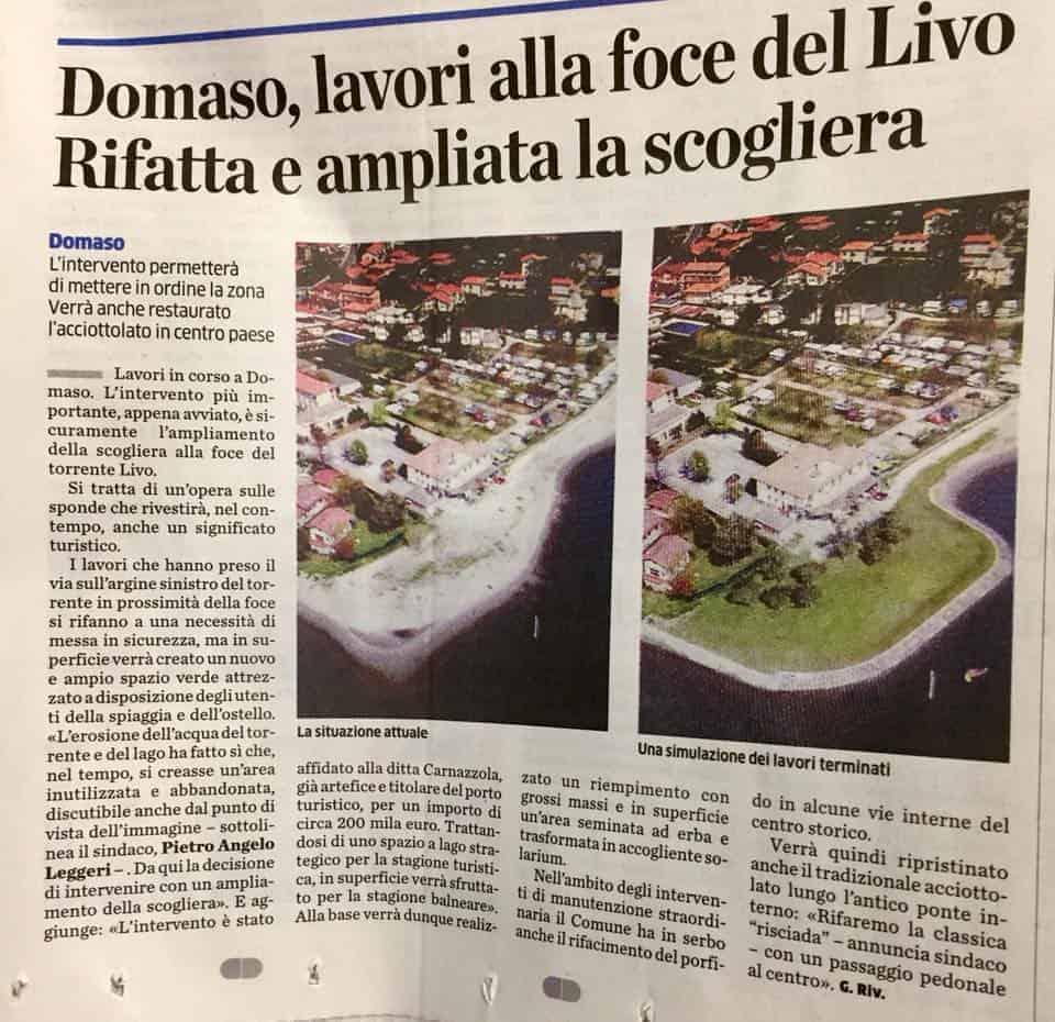 Krantenartikel Ostello Domaso